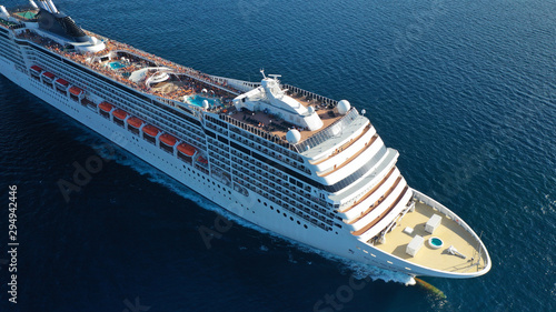 Aerial top view photo of huge cruise liner with pools and outdoor facilities cru Fototapeta