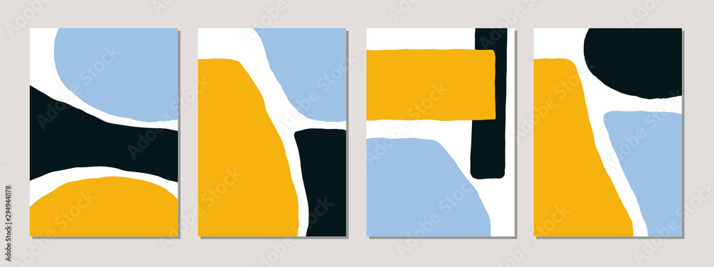 A set of abstract templates in blue, yellow, black and white. <span>plik: #294944078 | autor: xuliadore</span>