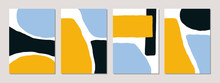 A Set Of Abstract Templates In Blue, Yellow, Black And White.