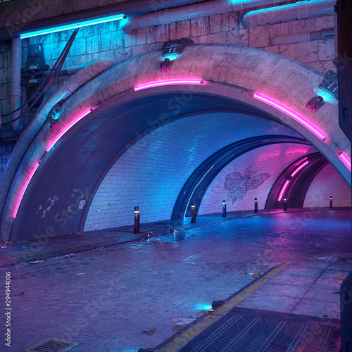 Fototapety, obrazy: The tunnel is brightly lit by neon lights. 3D illustration in the style of cyberpunk. Beautiful night city landscape.