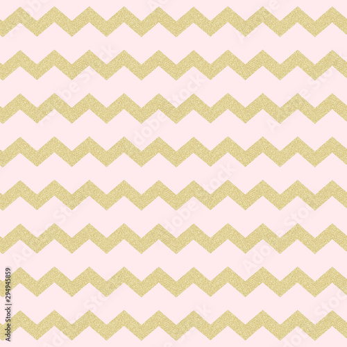 Photo Seamless Pink and Gold Chevron Pattern