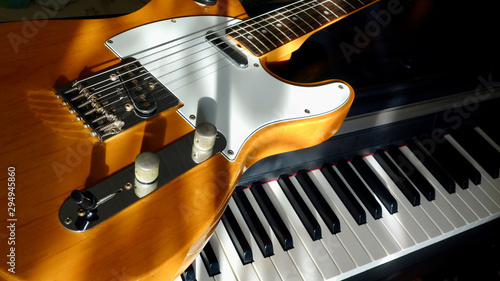 electric guitar and piano keyboards  - 294945860