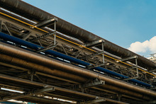 Industrial Tiered Steel Flyover With Pipelines