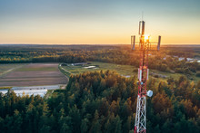 Mobile Communication Tower During Sunset From Above.