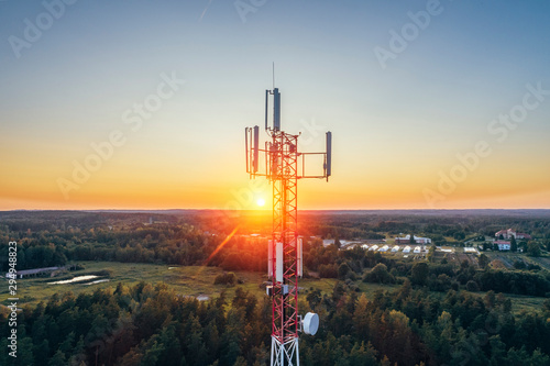 Mobile communication tower during sunset from above. Canvas Print