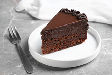 Delicious Fresh Chocolate Cake Served On Grey Table