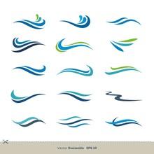 Set Of Colorful Waves Swoosh Vector Logo Template Illustration Design. Vector EPS 10.