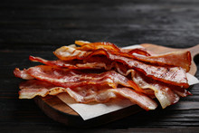 Slices Of Tasty Fried Bacon On...