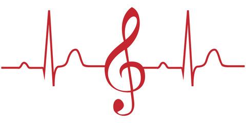 EKG mit Notenschlüssel Herz...