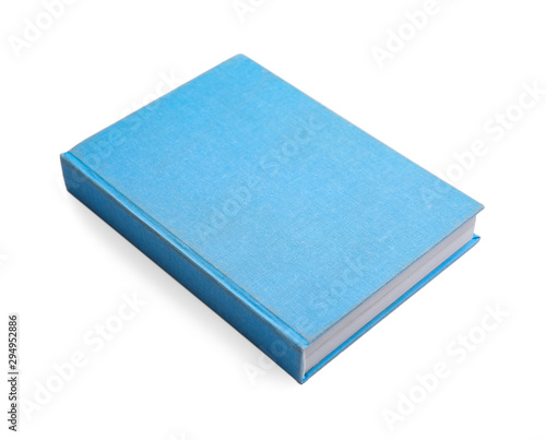 Fényképezés Book with blank light blue cover on white background