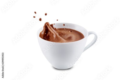 Photo sur Aluminium Chocolat Dark hot chocolate drink on a white isolated background