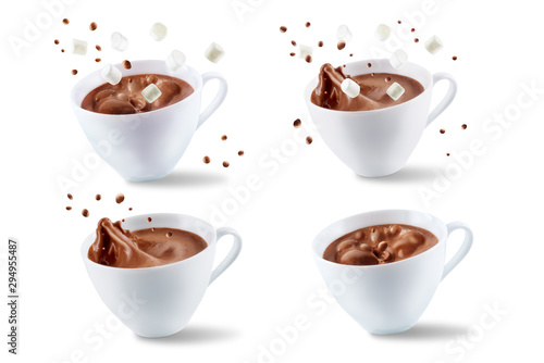 Spoed Foto op Canvas Chocolade Dark hot chocolate drink on a white isolated background