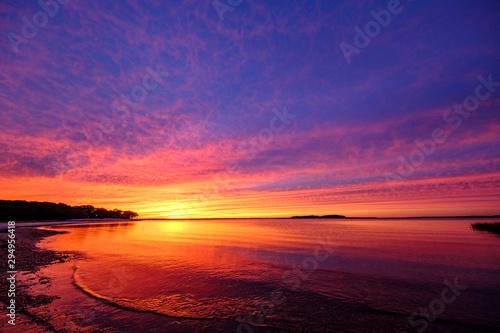 Poster Mer coucher du soleil Sunset Scene Long Island Hamptons