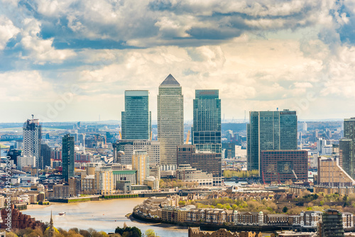London, England UK. Panoramic view of city , river Thames and business skyscrapers.  V