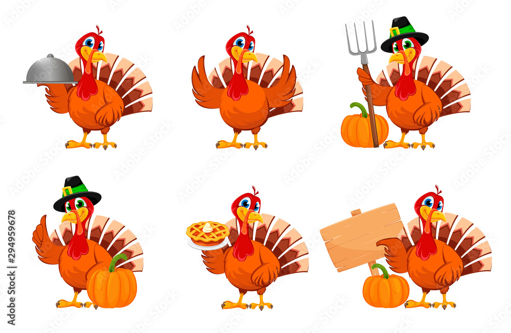 Święto Dziękczynienia Turcji, zestaw sześciu pozach