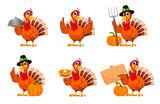 Fototapeta Fototapety na ścianę do pokoju dziecięcego - Thanksgiving turkey, set of six poses