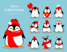 Cute Little Penguin, Set Of Ten Poses