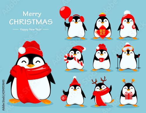 Stampa su Tela Cute little penguin, set of ten poses