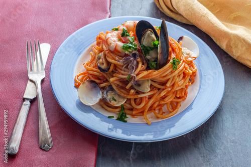 Foto auf AluDibond London Seafood Pasta Pescatore