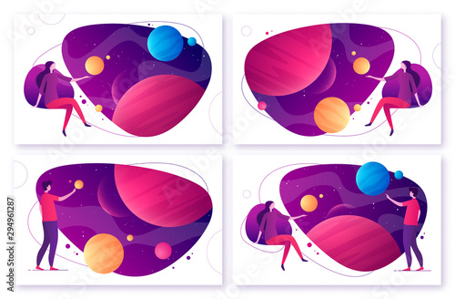 Set of different options for vector illustration on the topic of space, imaginat Canvas Print