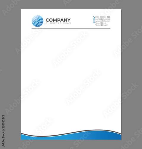 Fototapeta Blank Letterhead Template for Print with Sphere Logo obraz