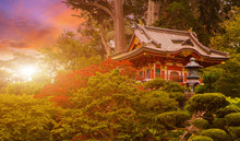 Japanese Temple In The Sunset