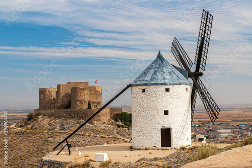 old windmill and castle of la Muela in the spanish municipality of Consuegra