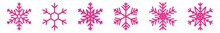Snowflake Icon Pink | Snowflakes | Ice Crystal Winter Symbol | Christmas Logo | Xmas Sign | Variations