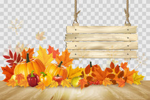 Nature Autumn Background. Happy Thanksgiving Holiday Card With Fresh Vegetables And Wooden Sign. Vector.