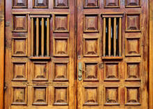 Heavy Wooden Decorated Door To A Noble Public Court Institution.