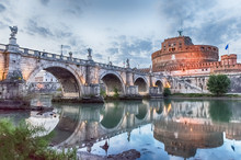 View Of Castel Sant'Angelo Fortress And Bridge, Rome, Italy