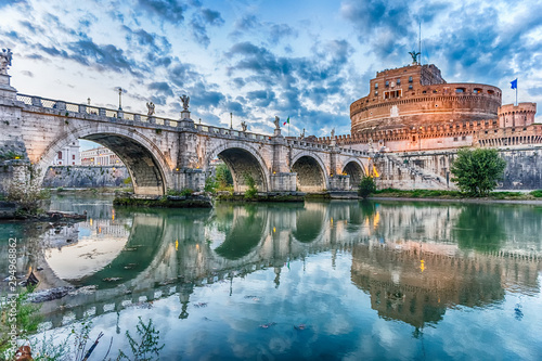 Poster Oude gebouw View of Castel Sant'Angelo fortress and bridge, Rome, Italy
