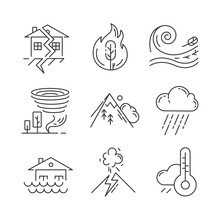 Natural Disaster Linear Icons ...