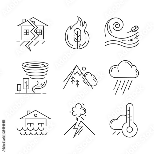 Foto Natural disaster linear icons set
