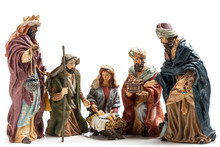 Three Wise Kings  And Holy Family Ceramic Figurines