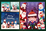 Fototapeta Natura - bundle christmas cards with label merry christmas