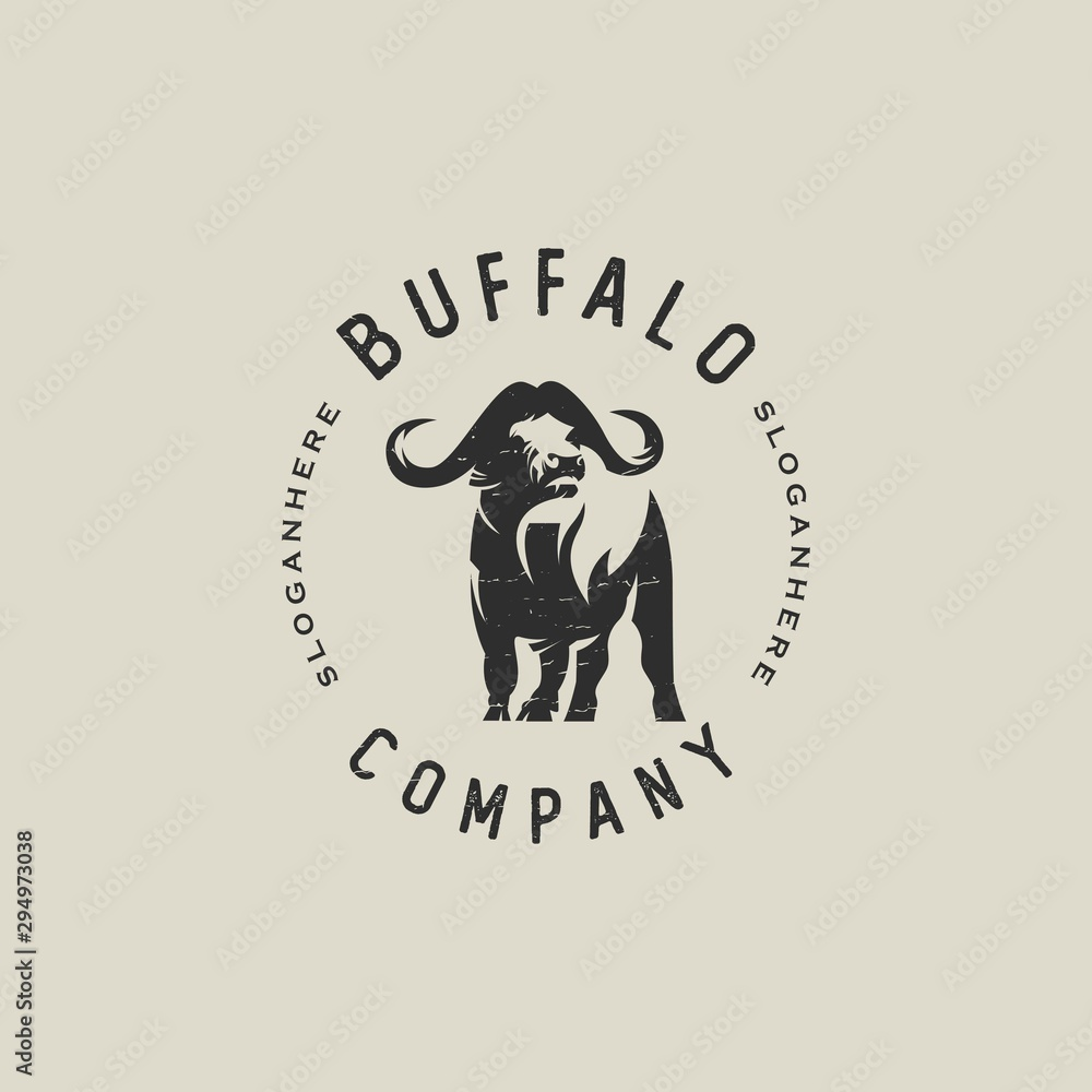 Fototapeta classic buffalo logo template vector design illustration