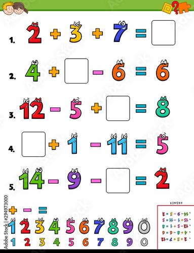 maths calculation educational worksheet for children Canvas Print