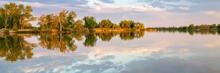 Calm Fishing Lake With Sunset ...