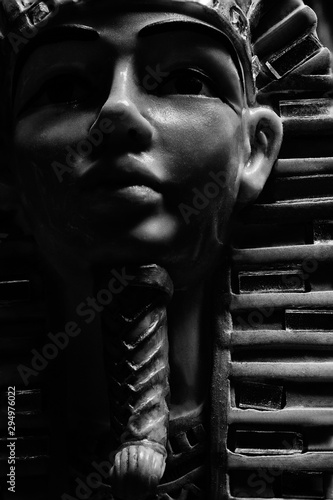 Black and white pharoah statue face close-up. Wallpaper Mural
