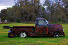 Old 1950s Rusted Truck Red Aba...