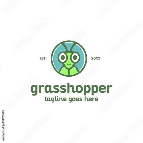 Fotografia, Obraz fun cute colorful grasshopper face head logo mascot vector template