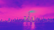 Leinwanddruck Bild - Lower Manhattan skyline and the Hudson river as seen from Jersey City funky gradient
