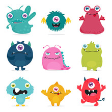 Cute Monster Design For Kids And Toy Products Logo And Background Template.