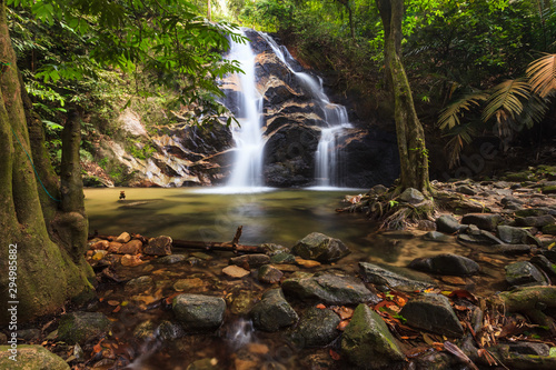 Recess Fitting Forest river waterfalls found in tropical rainforest in Malaysia