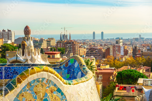 Panoramic view of Park Guell in Barcelona, Catalunya Spain. Wallpaper Mural