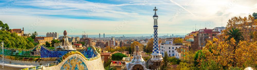 Fényképezés Panoramic view of Park Guell in Barcelona, Catalunya Spain.