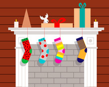 Christmas Fireplace With Hangi...