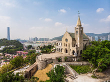 Aerial View Of The Exterior Of The Penha Church Dating From The Portuguese Colonial Era In Macau, China SAR On A Sunny Day