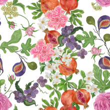 Watercolor Painting Seamless Pattern With Pomegranate, Grapes, Figs And Flowers